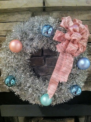 Easy DIY Tinsel Wreath with Ornaments