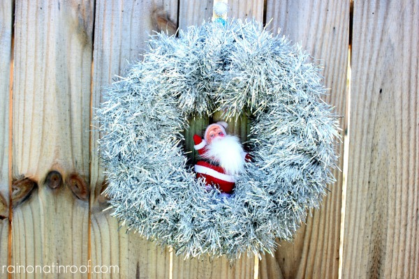 Santa Tinsel Wreath via rainonatinroof.com #tinsel #holidays #wreath #blogherholidays