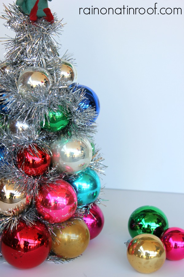 Vintage Ornament Tree via rainonatinroof.com #ornamenttree #holidays #christmas #blogherholidays