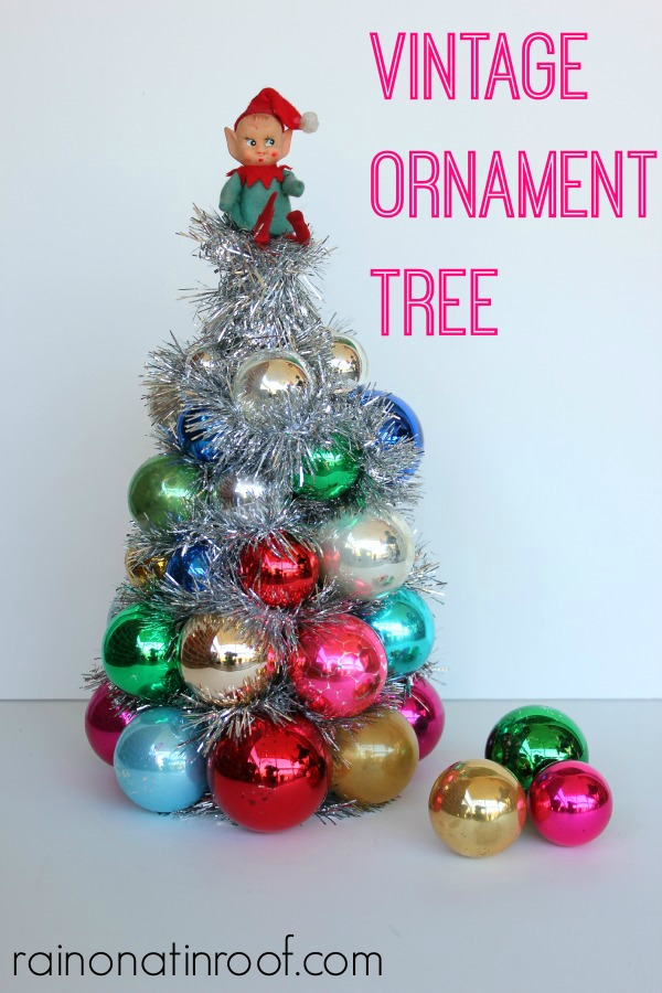 vintage ornament tree via rainonatinroofcom ornamenttree holidays christmas blogherholidays - Christmas Tree Decorated With Vintage Ornaments