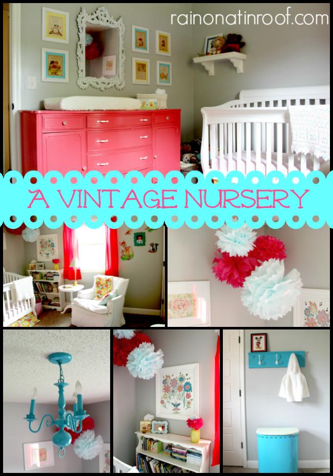 A Vintage Nursery {rainonatinroof.com} #vintage #nursery