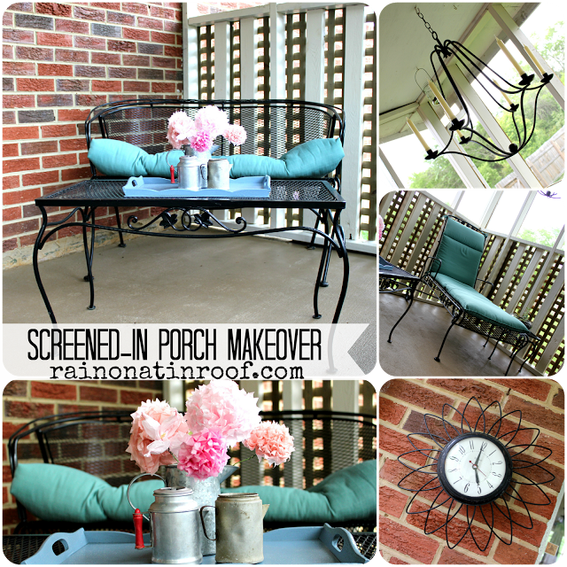Screened In Porch Makeover {rainonatinroof.com} #porch #makeover