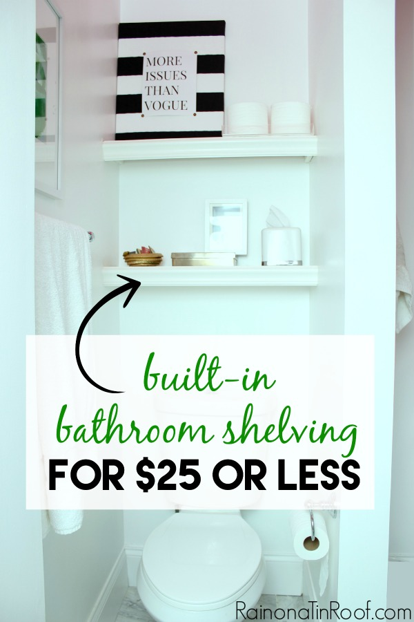 Built In Bathroom Shelving DIY For 25 Or Less