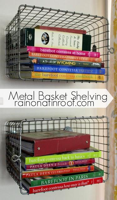 DIY Metal Basket Shelving | Vintage Locker Baskets for Shelves | Kitchen Storage Idea | Kitchen Organizing Ideas | Cookbook Storage Idea