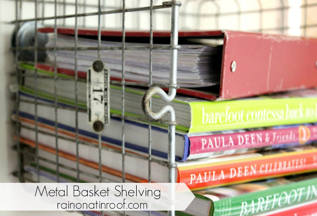 How to Make Metal Basket Shelving from Vintage Locker Baskets