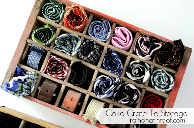 Storing ties in a vintage coke crate.