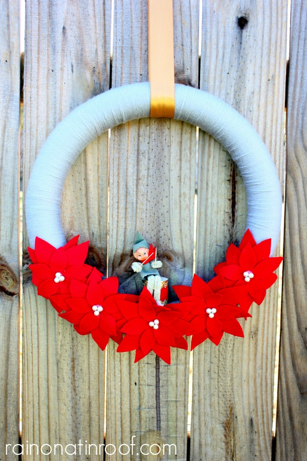 Vintage Elf Christmas Wreath via rainonatinroof.com #blogherholidays #christmas #holidays #wreath
