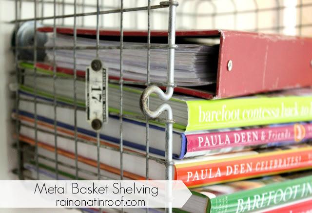Metal Basket Shelves with Vintage Locker Baskets