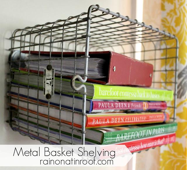 Vintage Locker Baskets turned Shelves