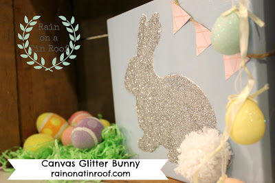DIY Canvas Glitter Bunny for Easter