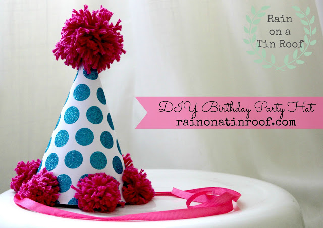 DIY Birthday Hat using Party Hat Template - Rain on a Tin Roof