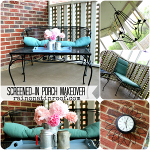 Screened-In Porch Makeover {rainonatinroof.com}