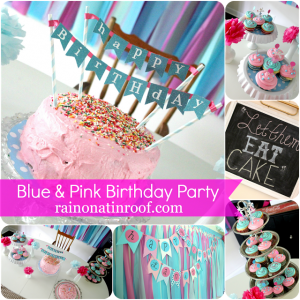 Blue and Pink Party {rainonatinroof.com