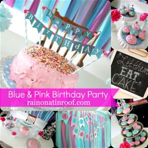 Blue and Pink Party {rainonatinroof.com