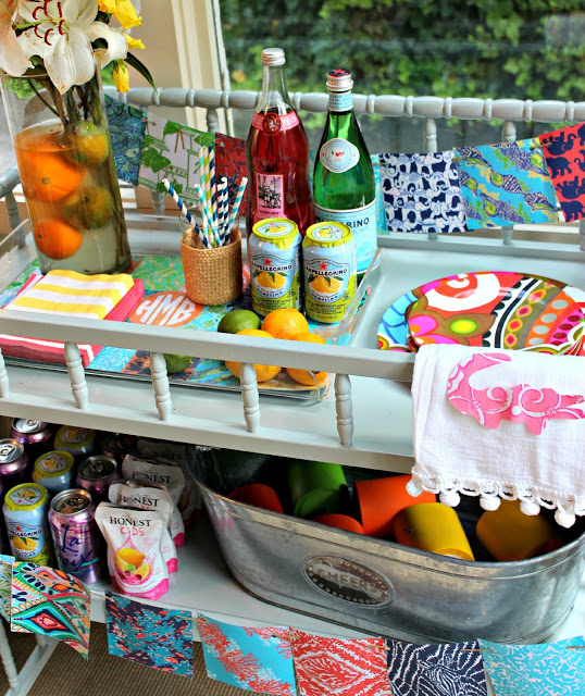 Lilly Pulitzer Inspired Bar Cart Decor