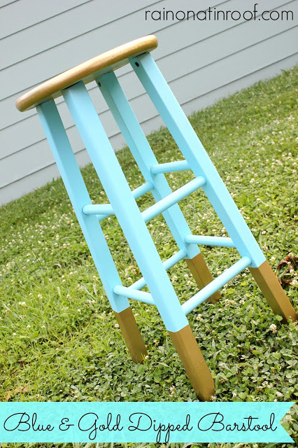Gold Dipped Barstool Makeover with Spray Paint