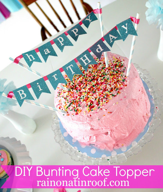 DIY Cake Banner Topper made from scrapbook paper.