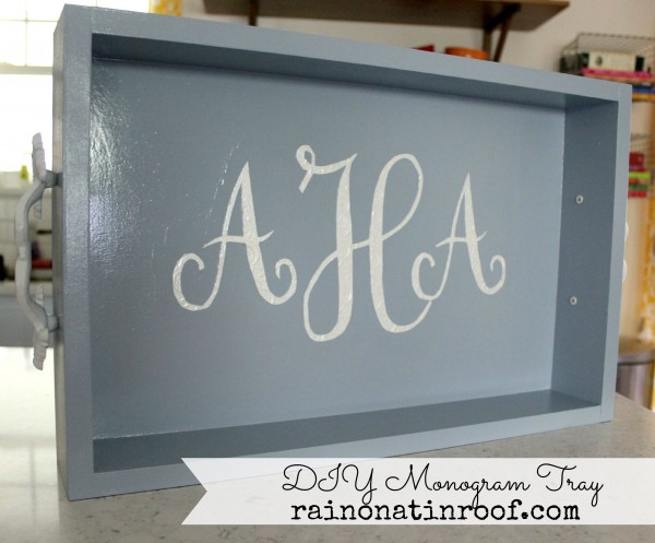 DIY Monogram Tray {rainonatinroof.com} #diy #tray #monogram