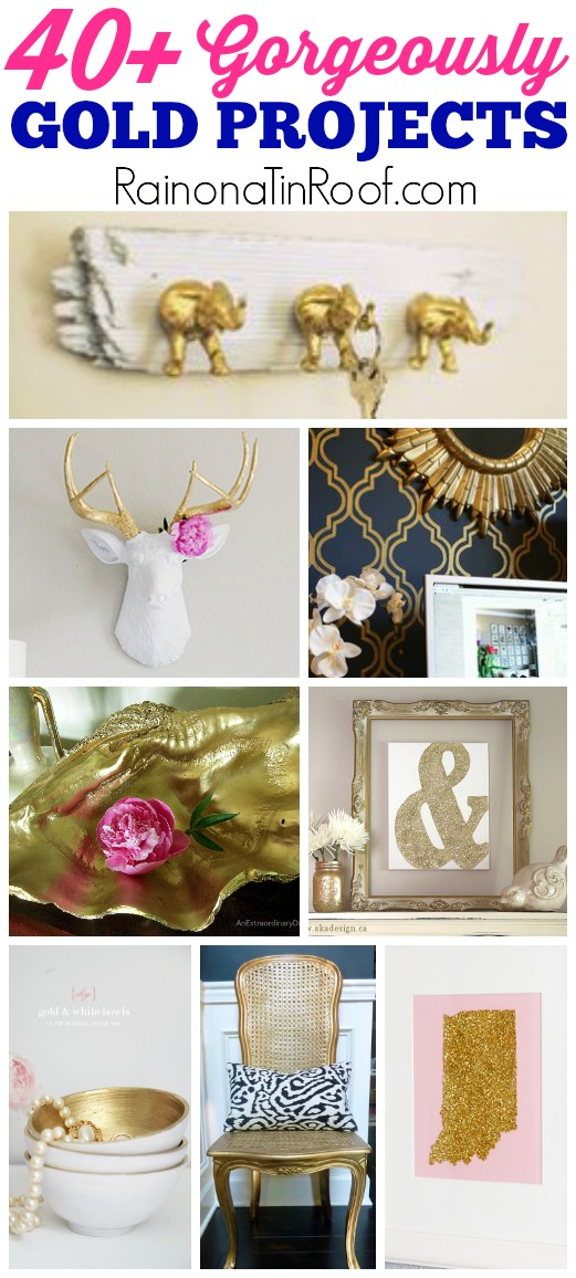 40 gold home decor projects for Gold home decorations