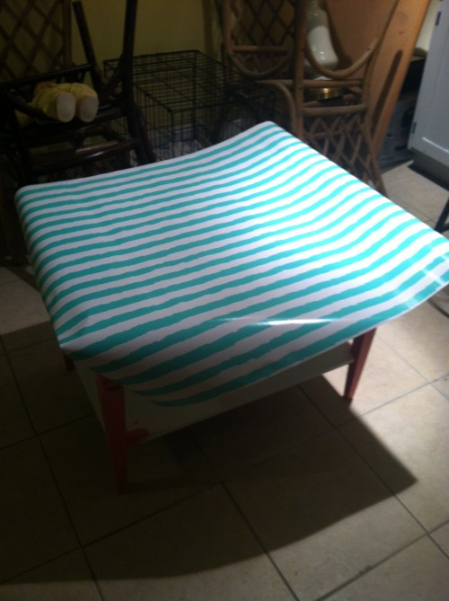 Mod Podged Table Top Makeover {rainonatinroof.com} #modpodge #makeover #DIY