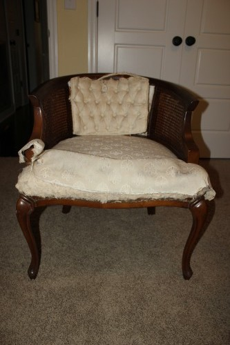 How to Upholster a Cane Chair {rainonatinroof.com} #upholstery #canechair