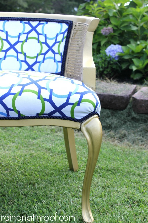 Gold Spray Painted Chair {rainonatinroof.com} #gold #spraypaint
