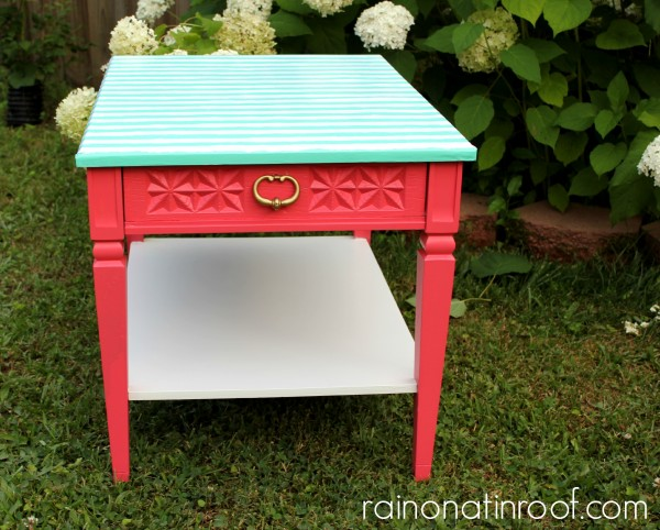 Coral and Green Table Makeover {rainonatinroof.com} #coral #green #makeover