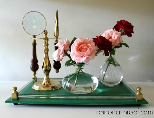 Glass Tray Makeover {rainonatinroof.com} #tray #makeover