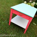 Green Striped and Pink Table Makeover {rainonatinroof.com} #furnituremakeover