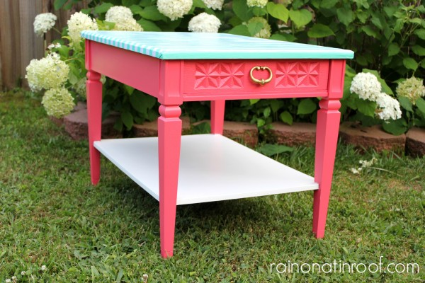 Pink and Green Table Makeover {rainonatinroof.com} #makeover