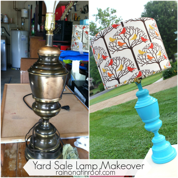 Spray Painted Lamp Makeover {rainonatinroof.com} #spraypaint #lamp #makeover