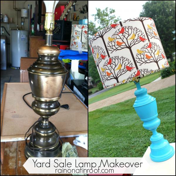 Spray Painted Lamp Makeover {rainonatinroof.com} #spraypaint #lamp #makeover