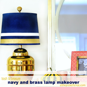 Trash to Treasure Navy & Brass Lamp Makeover