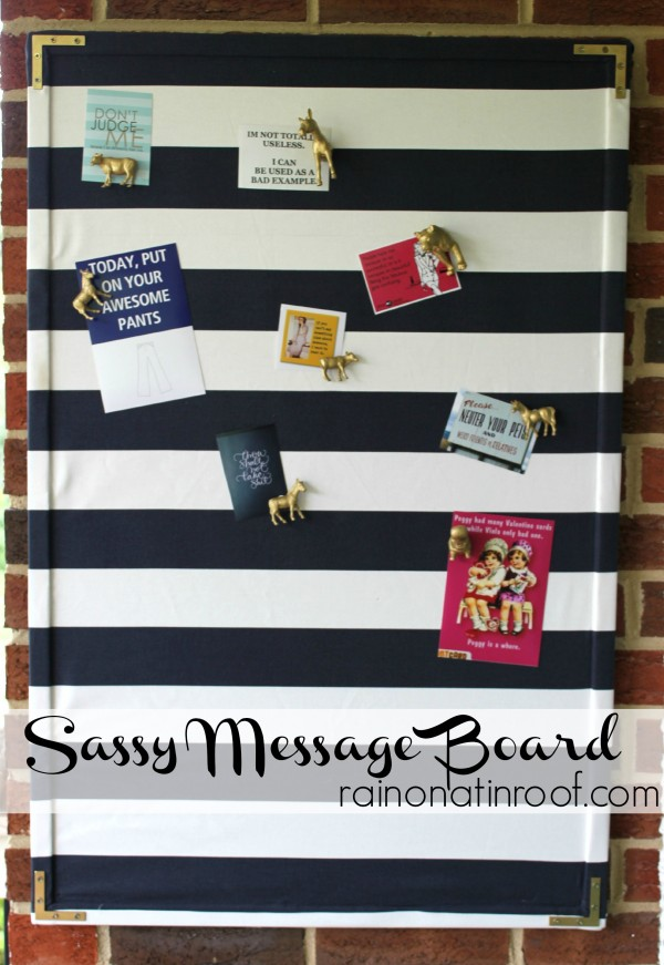 Sassy Fabric Covered Message Board {rainonatinroof.com} #messageboard #trashtotreasure