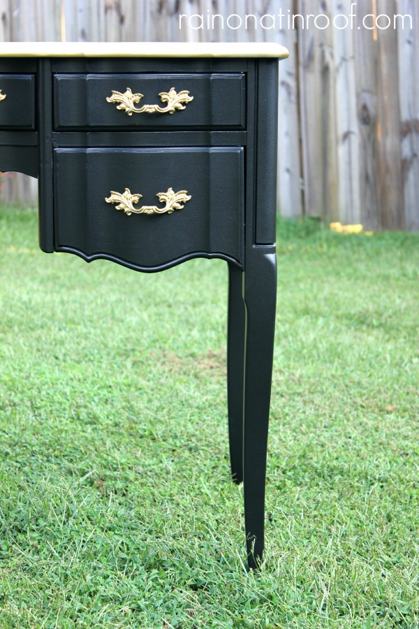 Black and Gold French Desk Makeover {rainonatinroof.com} #makeover #homeright #french
