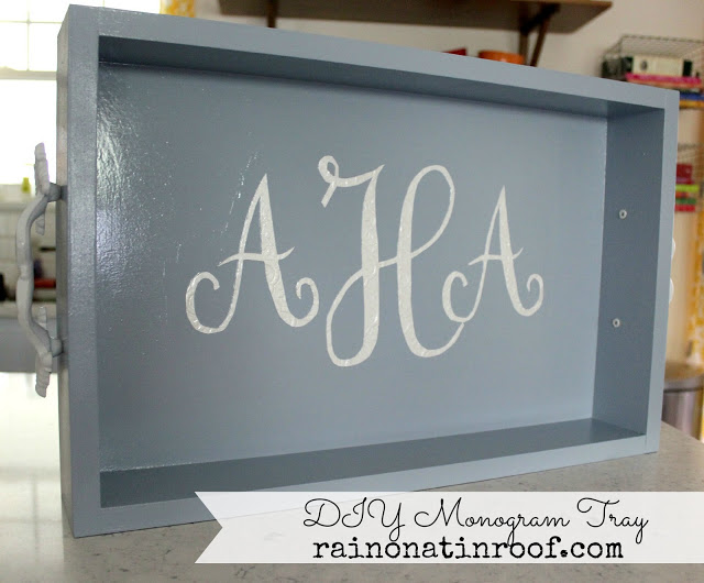 DIY Monogram Tray via rainonatinroof.com