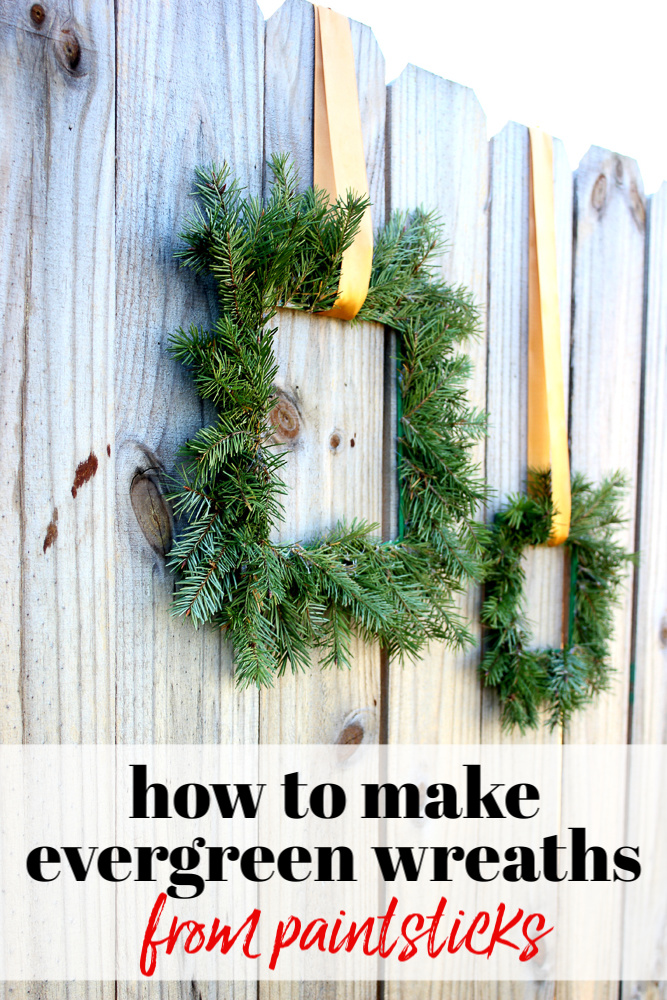 How to Make Evergreen Wreaths from Paint Sticks