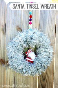 Santa Tinsel Wreath
