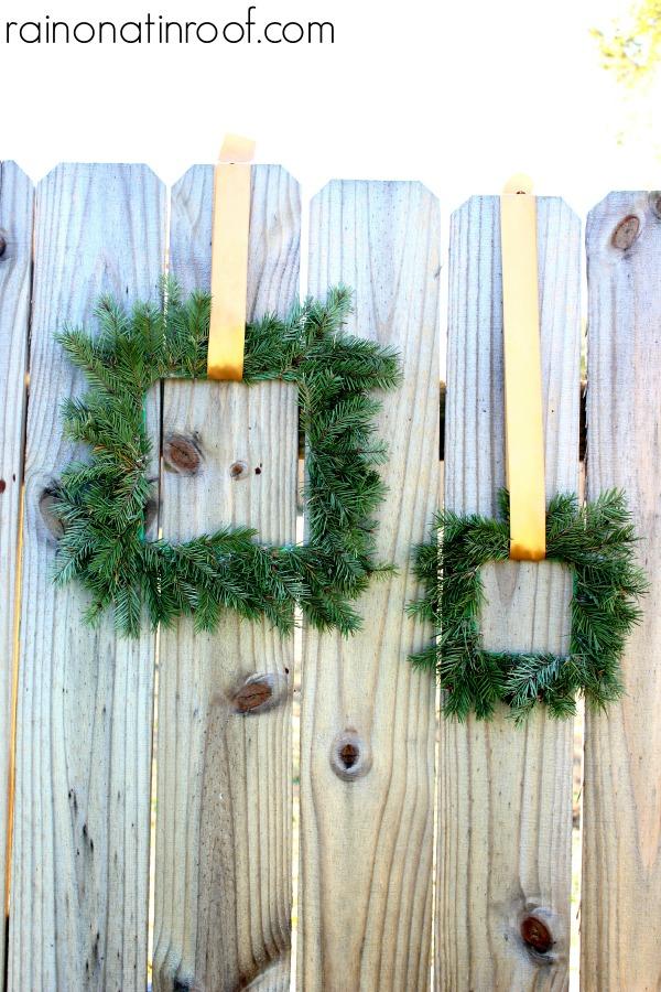 Paint Stick Evergreen Wreaths via rainonatinroof.com #wreath #paintstick #evergreen #holiday #blogherholidays