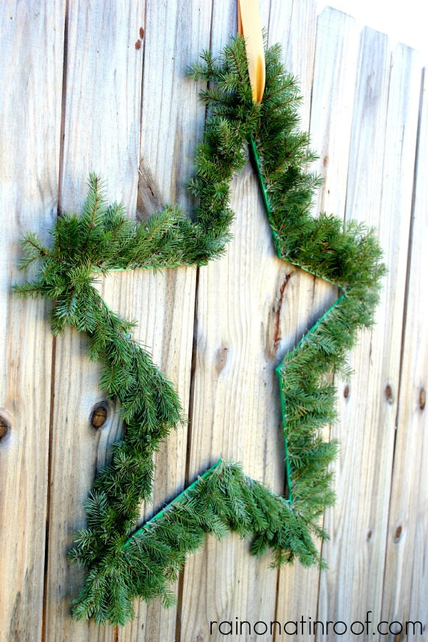 Paint Stick Evergreen Wreaths via rainonatinroof.com #wreath #paintstick #evergreen #holiday #blogherholidays