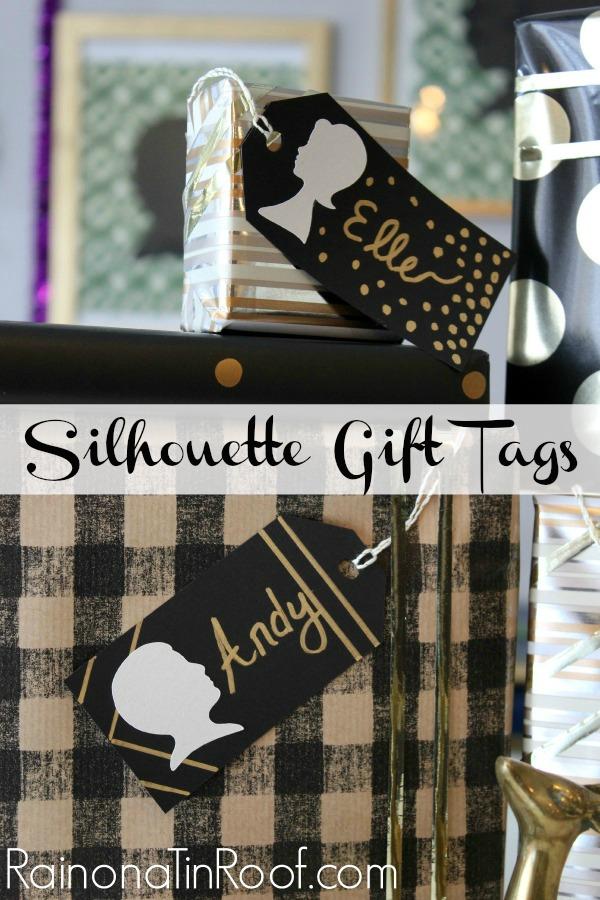 DIY Silhouette Gift Tags via rainonatinroof.com #silhouette