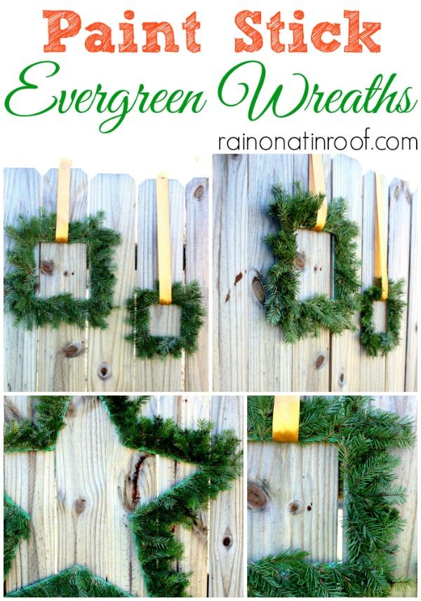 DIY Wreath Ideas for Christmas | Evergreen Wreath for Christmas | Paint Stick Crafts | Paint Stick Wreath | Christmas Wreath Ideas