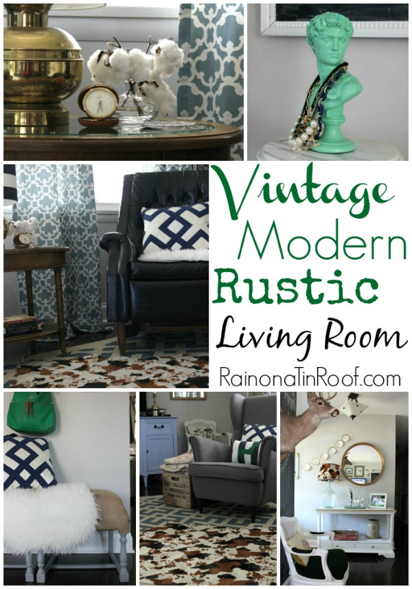 Vintage Modern Rustic Living Room | Living Room Ideas | Living Room Decor | Living Room Decor on a Budget | Living Room Wall Decor