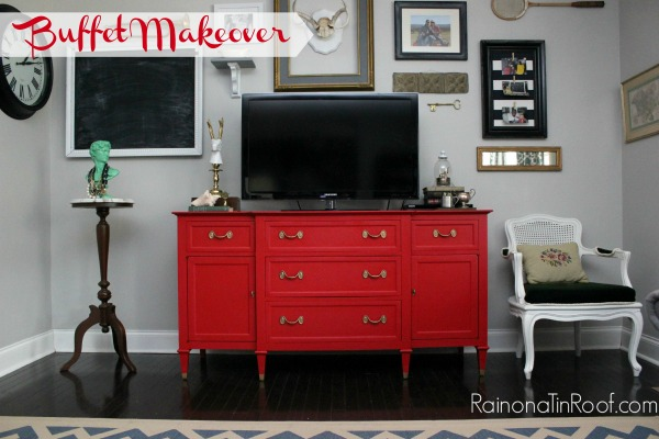 Buffet Makeover via RainonaTinRoof.com #buffet #makeover #red #countrychicpaint