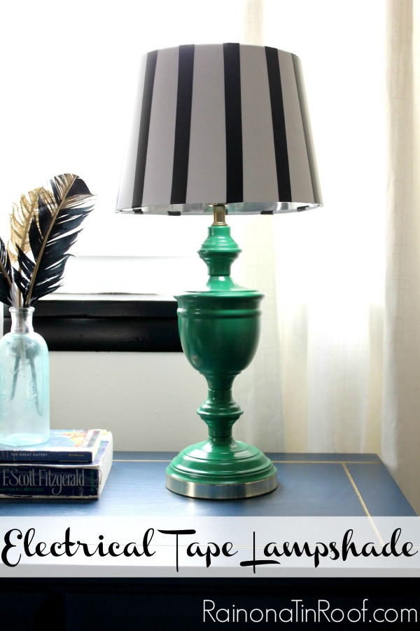 Electrical Tape Lampshade via RainonaTinRoof.com #electricaltape #lampshade #fifteenonFriday