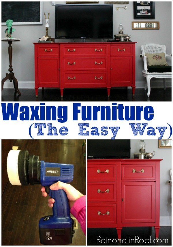 Waxing Furniture (The Easy Way) via RainonaTinRoof.com #waxing #furnituremakeover #homeright