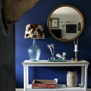 Rich Navy Accent Wall via RainonaTinRoof.com #homeright #richnavy #accentwall