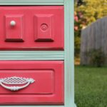 Mint and Coral Nightstand Makeover via RainonaTinRoof.com #makeover #nightstand #DIY