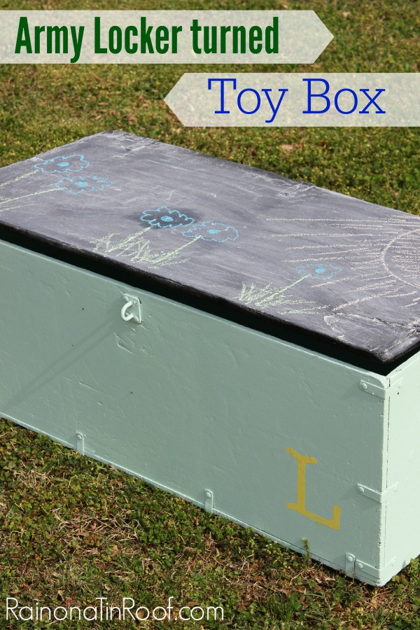 Army Locker turned Toy Box via RainonaTinRoof.com #makeover #armylocker #toybox #homeright #finishmaxpro