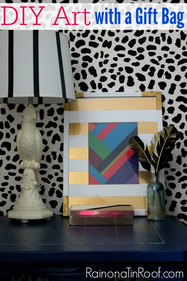 DIY Wall Decor with a Gift Bag via RainonaTinRoof.com #diy #walldecor #wallart #art #modernart
